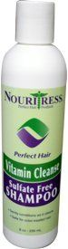 Nouritress Perfect Hair Vitamin Cleanse Sulfate Free Shampoo by Nouritress. $15.99. Gentle cleansing shampoo. Vitamin Cleanse Sulfate Free Shampoo is a gentle cleansing shampoo without sulfates that locks in extra moisture to ensure maximum conditioning for natural, relaxed or color treated hair.  NouriTress Vitamin Cleanse Sulfate Free Shampoo combines Vitamin E, antioxidants with wheat protein to maximize hair color retention while adding shine and body to the hair.