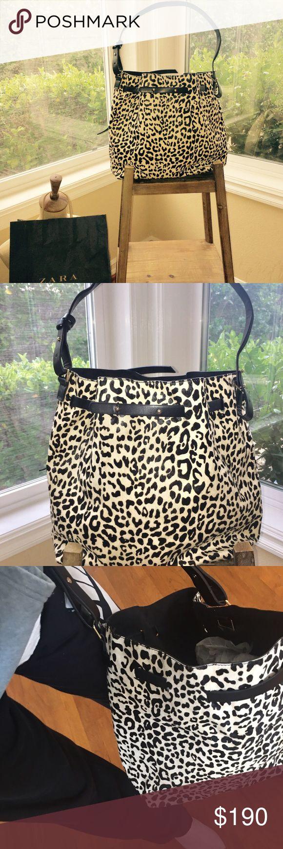 Zara Handbag Zara like new black white fur leather handle suede inner stunning sold out Zara Bags Shoulder Bags