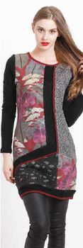 Floral Pattern with Black Sleeves Tunic - Winter 2015 Collection - FLORENCIA PHILS MILAN