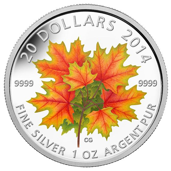 1 oz. Fine Silver Glow-in-the-Dark Coin - Maple Leaves - Mintage: 7,500 (2014)