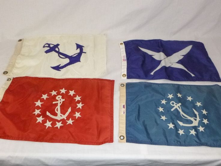 Vtg Lot of 4 Nautical Yachting Boat Flags Blue Red White 10x19 Cottage Decor
