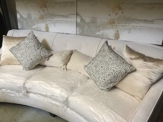 SET OF 6 DECORATIVE THROW PILLOWS IN SHADES OF CHAMPAGNE WITH METALLIC TRIM. ONE SET MARKED DEVI ...