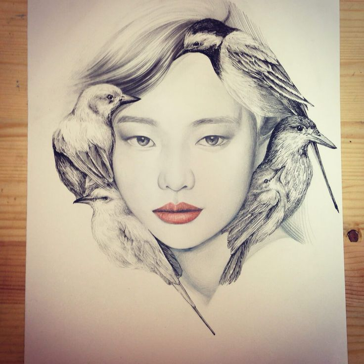 Beautiful Portrait Illustrations: The Girl and the Birds by okArt (  Process Shots)