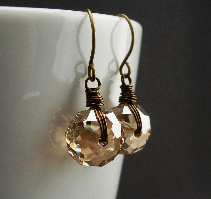 Swarovski Crystal Earrings, Wire Wrapped Swarovski Golden Shadow Beige Tan Crystal Rondelles.  Industrial Brass.