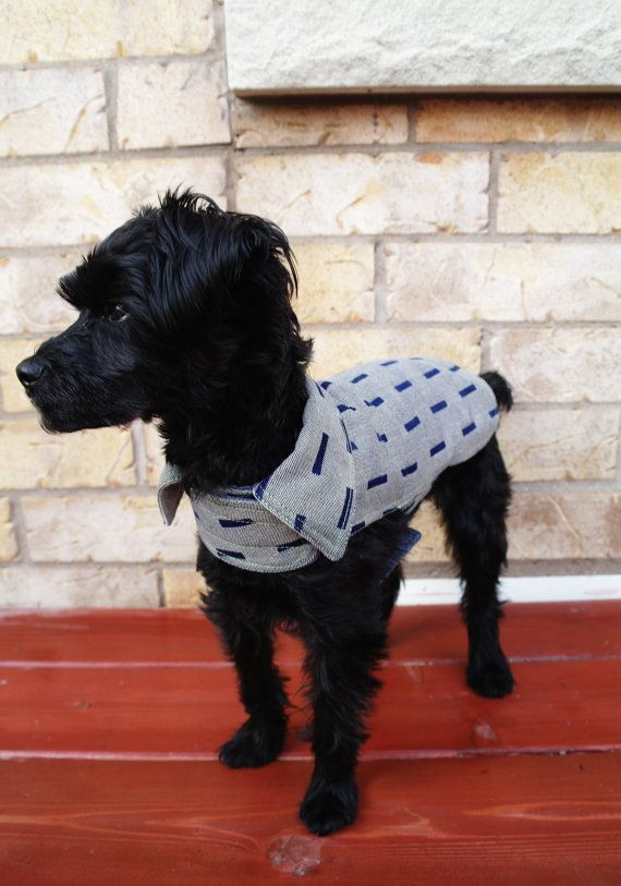 The Cobi Blazer - Grey/Blue Sqaure  www.etsy.com/shop/JumpingJake  @JumpingJake_DogClothes  #JumpingJake
