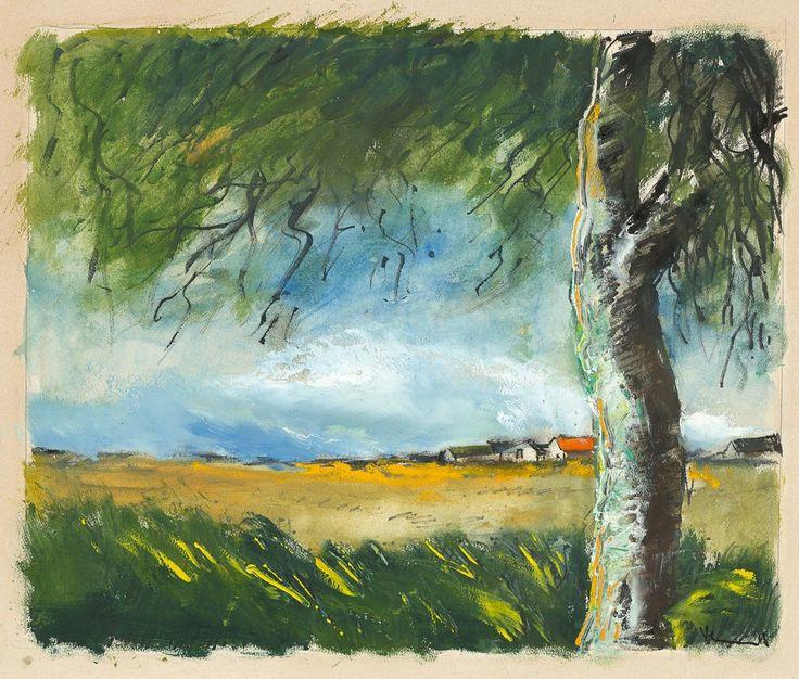 Maurice de Vlaminck (French, 1876-1958),Paysage à l'arbre[Landscape with tree]. Watercolour, gouache and ink on paper, 45.2 × 53.8 cm.