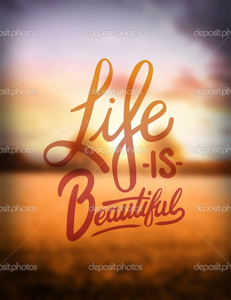 Life is beautiful text - Стоковая иллюстрация: 66478133