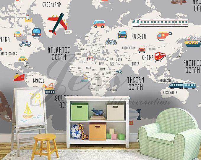 3d Nursery Kids Room Animal World Map Removable Wallpaper Peel