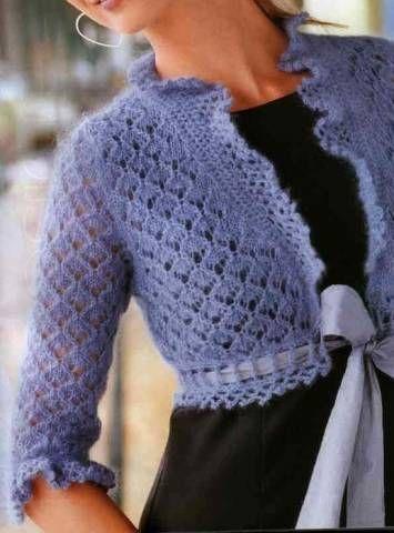 Болеро нежно голубого цвета | Вязание и рукоделие