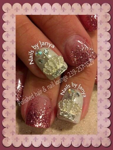 My daughter Amanda's nails April 2013  Acrylic glitter nails with bling