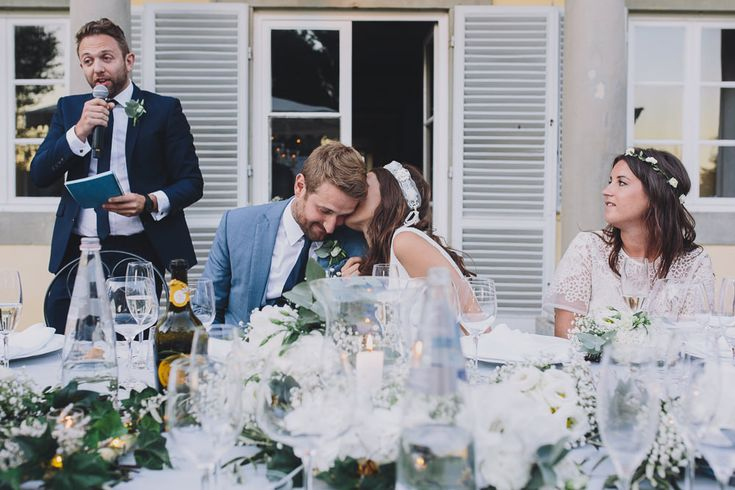 Image by  Sara Lincoln Photography - Rime Arodaky gown for a Tuscany wedding with a white and grey colour scheme and bridesmaid dresses from ASOS.