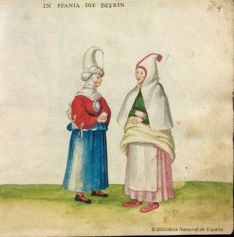 Women of Bayona. Codex Madrazo-Daza, 16th century. National Library of Spain.