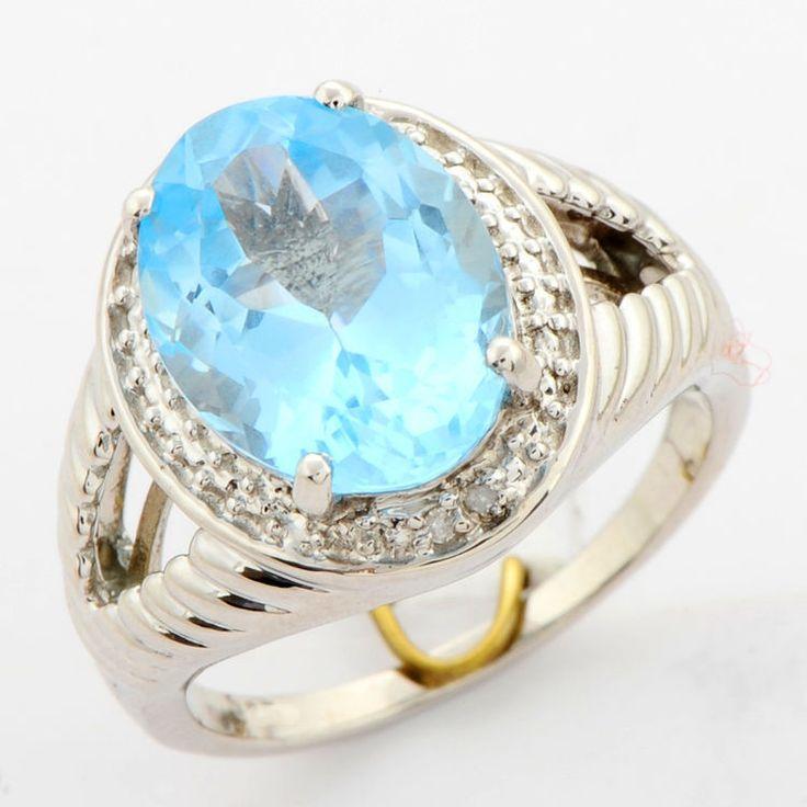 SKY BLUE TOPAZ 7.30 CT NATURAL GEMSTONE & DIAMOND RING IN 925 STERLING SILVER