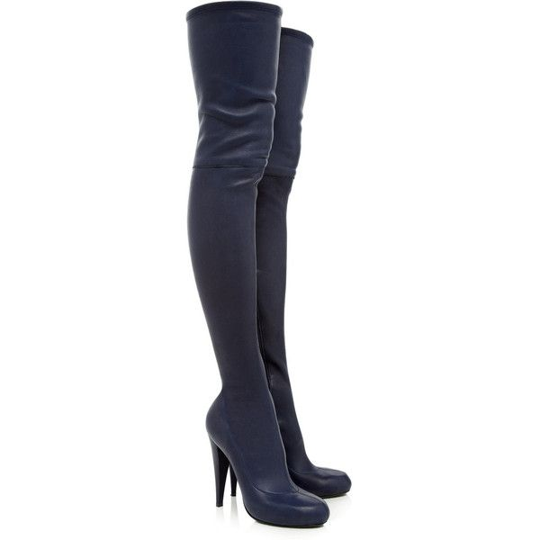 Roberto Cavalli Leather thigh boots (1.440 BRL) ❤ liked on Polyvore featuring shoes, boots, heels, botas, sapatos, leather thigh boots, thigh high leather boots, heeled boots, navy blue leather boots and thigh boots