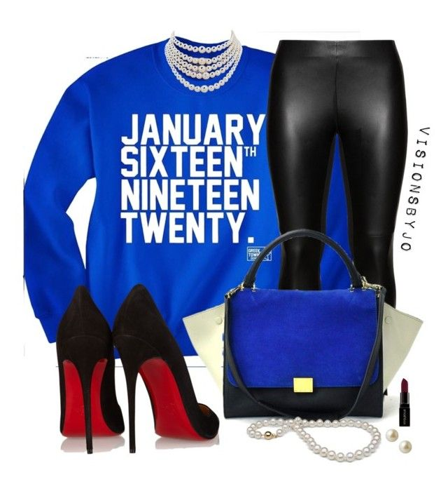 """Zeta Phi Beta"" by visionsbyjo on Polyvore featuring Studio, Christian Louboutin, Christian Dior, Carolee, Smashbox, women's clothing, women's fashion, women, female and woman"