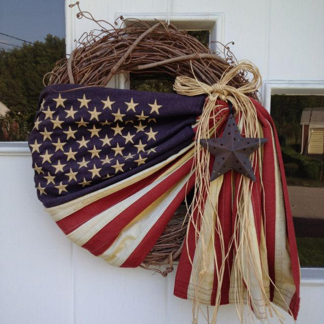 summer wreath ... great primitive rustic 4th of july
