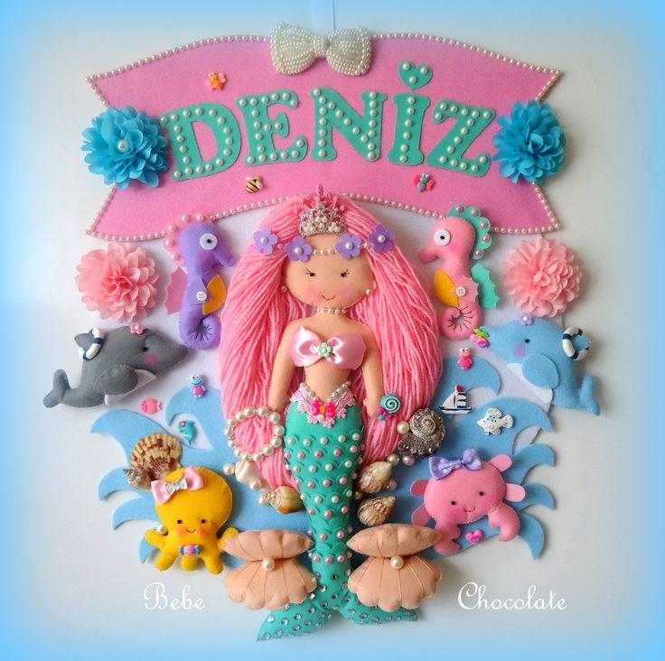 felt mermaid, kapı süsü, keçe, deniz kızı, baby felt, keçe kapı süsü, bebechocolate, handmade