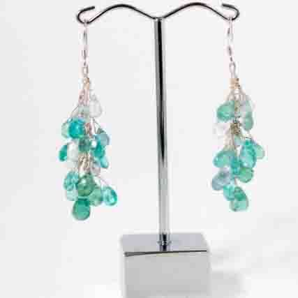 Jenny Whitmore Earrings Aquamarine & Apatite Sterling Silver