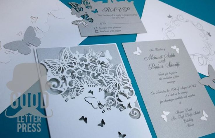 lazer cut wedding invitations | Photo: Laser cut butterfly wedding invitation suite