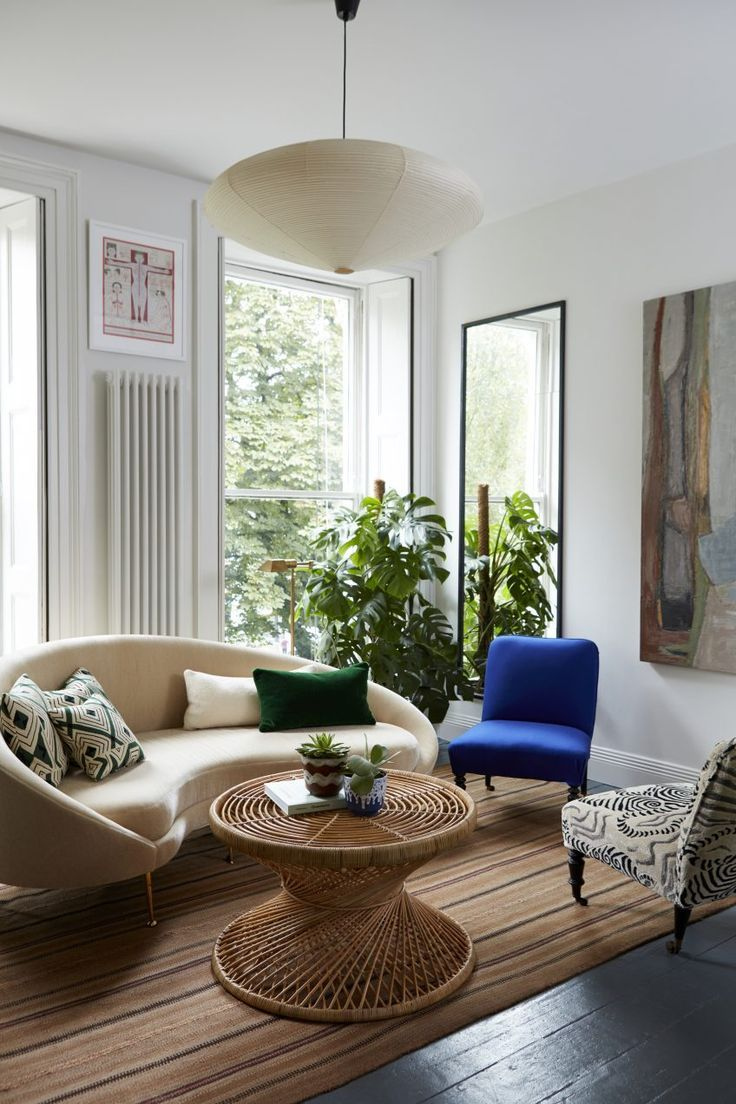 striped rug, round coffee table, blue chair, vintage sofa - 25+ Best Ideas About Blue Chairs On Pinterest Wing Chair, Winged