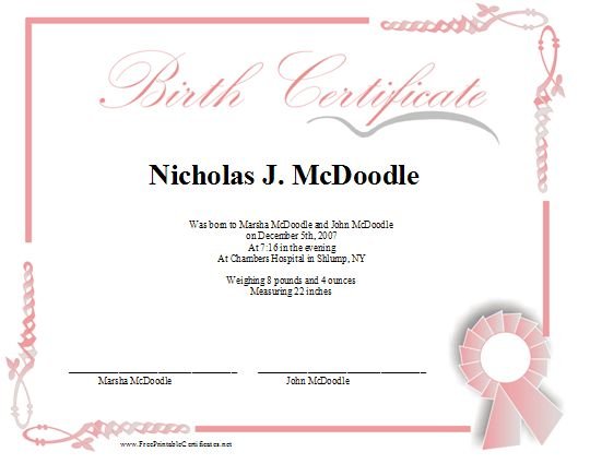 A printable birth certificate in shades of pink for a baby girl features a pink ribbon and an for Baby doll birth certificate