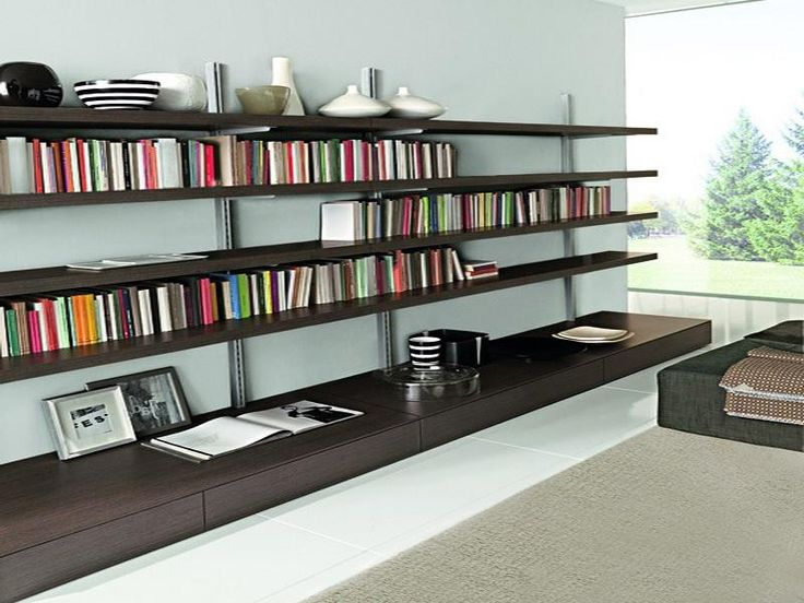 Wall Mounted Bookcase for Apartment Design Interior ideas