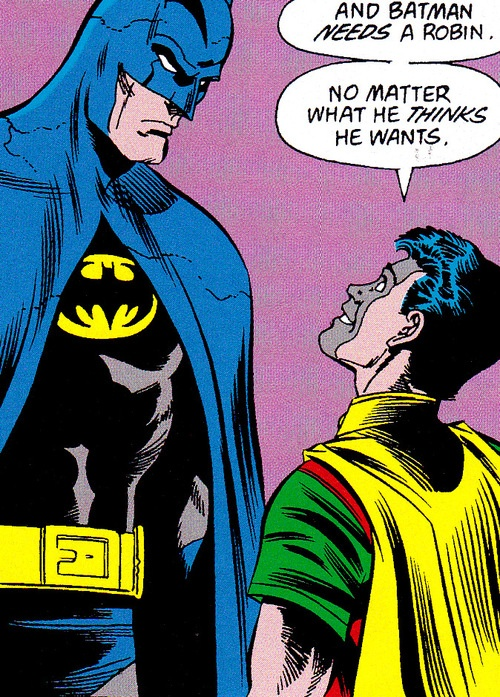 """Tim Drake & Batman from Batman #442 (December 1989)""""ALonelyPlace Of Dying: Pat 5""""Art by Jim Aparo (Pencils), Mike DeCarlo (Inks)Story by Marv Wolfman & Jim Starlin"""