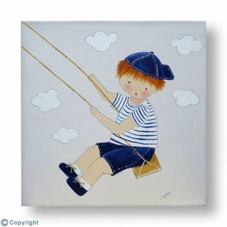 Cuadro infantil personalizado con el nombre. Lienzo Niño en un columpio-(mod.351). Un regalo para bebés, niños y niñas, de decoración infantil, artesanal y hecho a mano.