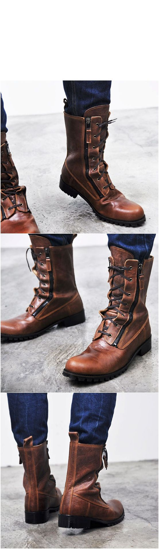 Runway Zippered Vintage Brown Raven Boots Shoes - 70 - NewStylish