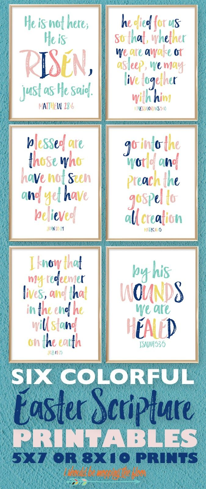 Six Colorful Printable Easter Bible Scriptures for any Spring Decor