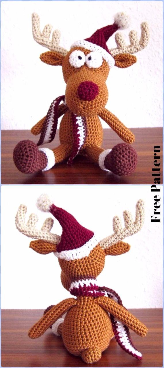 Crochet Tobi Christmas Deer in Hat Free Pattern - Crochet Amigurumi Deer Toy Softies Free Patterns