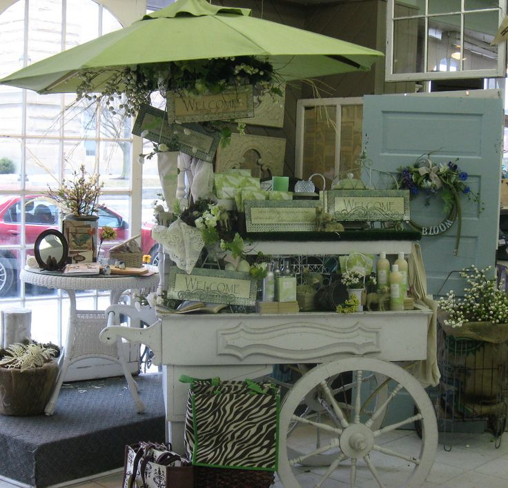white flower cart...this would make the cutest candy cart with an umbrella!!