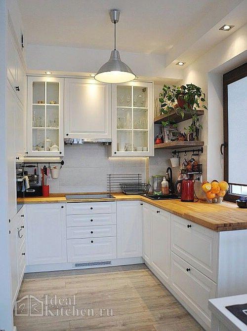 Белая кухня с деревянной столешницей — 165 фото в ...