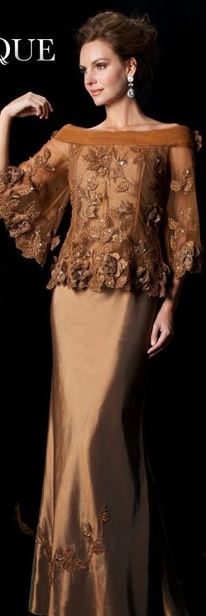 Janique Couture #long #formal #dress #bronze