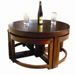 Modern Round Brown Nesting Cocktail Coffee Table With 4 Wedge Tables Wedges Stools And Rounding