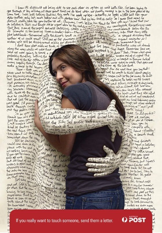 great image. (ok, maybe a BIT creepy, but still pretty darn great.): Touch Someone, Prints Observed, Photos Manipulation, Graphics Design, Australia Posts, Letters Writing, Prints Ads, Design Blog, 3D Typography