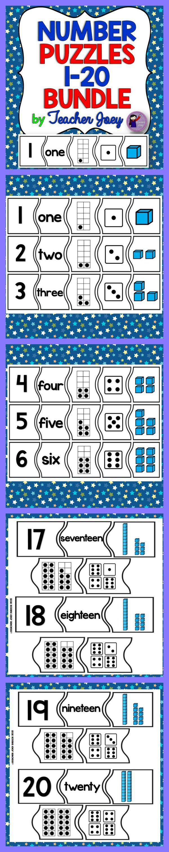 Number Puzzles 1-20 Interactive #teacherspayteachers #math