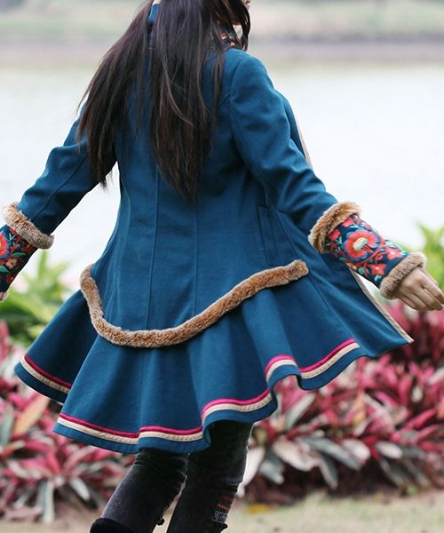 Sky Blue Ethnic Winter Wool Coat