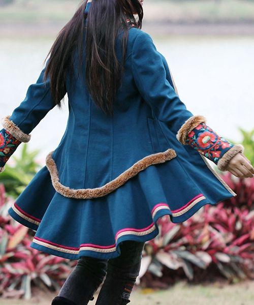 Sky Blue Ethnic Winter Wool Coat
