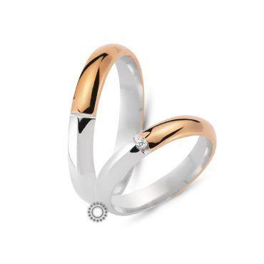 Μοντέρνες καμπυλωτές γαμήλιες βέρες CHRILIA 36 σε ροζ και λευκό χρώμα με διαμάντι στη μέση της γυναικείας βέρας | Κοσμηματοπωλείο ΤΣΑΛΔΑΡΗΣ στο Χαλάνδρι #βερες #γάμου #wedding #rings #Chrilia #tsaldaris