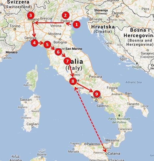 recommended Italy 3-week open-jaws itinerary