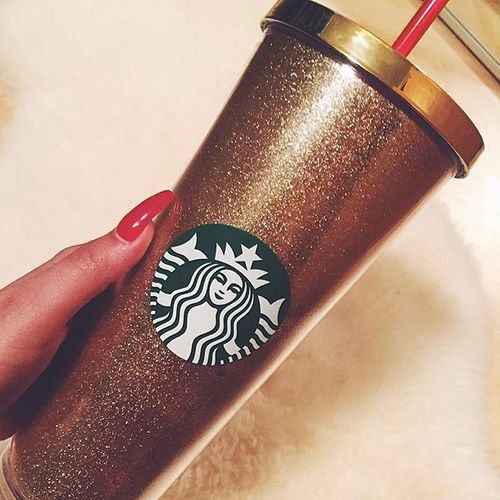 Pinterest: dopethemesz ; bougie glam aesthetic;  venti gold glittery starbucks tumblr