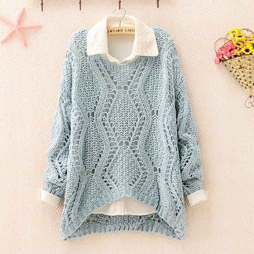 Over Size Knit Sweater for Women Blue   mountaingothartfire - Clothing on ArtFire