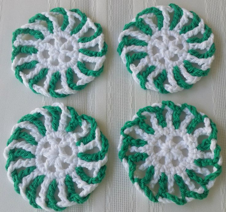 Dress up your eating area with these peppermint green coasters. See details at:  Etsy.com/shop/GrammysCustomCrochet
