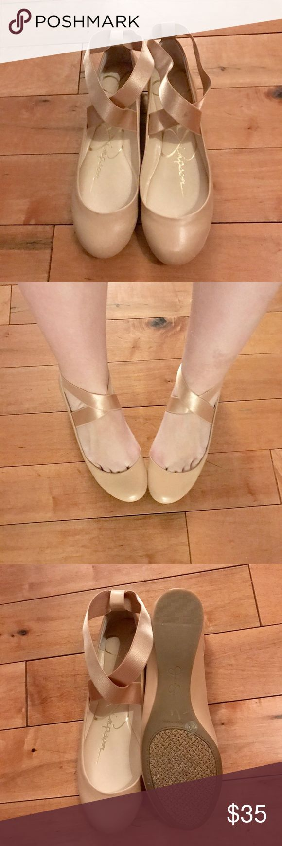 Jessica Simpson ballet flats Jessica Simpson ballet blush pink nude  nude elastic band flats ! Has some wear on them but still has a lot of life left to them! Jessica Simpson Shoes Flats & Loafers