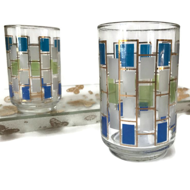 Mid Century Barware Libbey Nordic Highball Drinking Gles Turquoise Lime And Gold Set Of 5 Gl