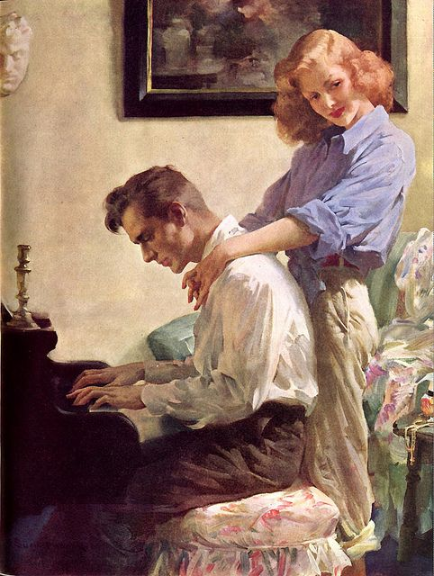 """Whatever he is playing, it is striking a chord with her. This painting  accompanied the story """"The Unpossessed"""" in the Ladies Home  Journal."""