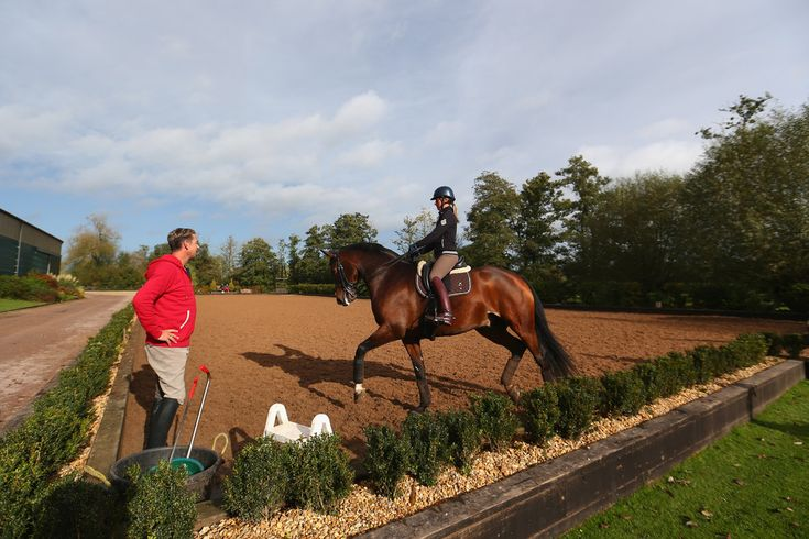 Carl Hester and Charlotte Dujardin training at home.  Note the low hedge instead of fencing around the sand arena.