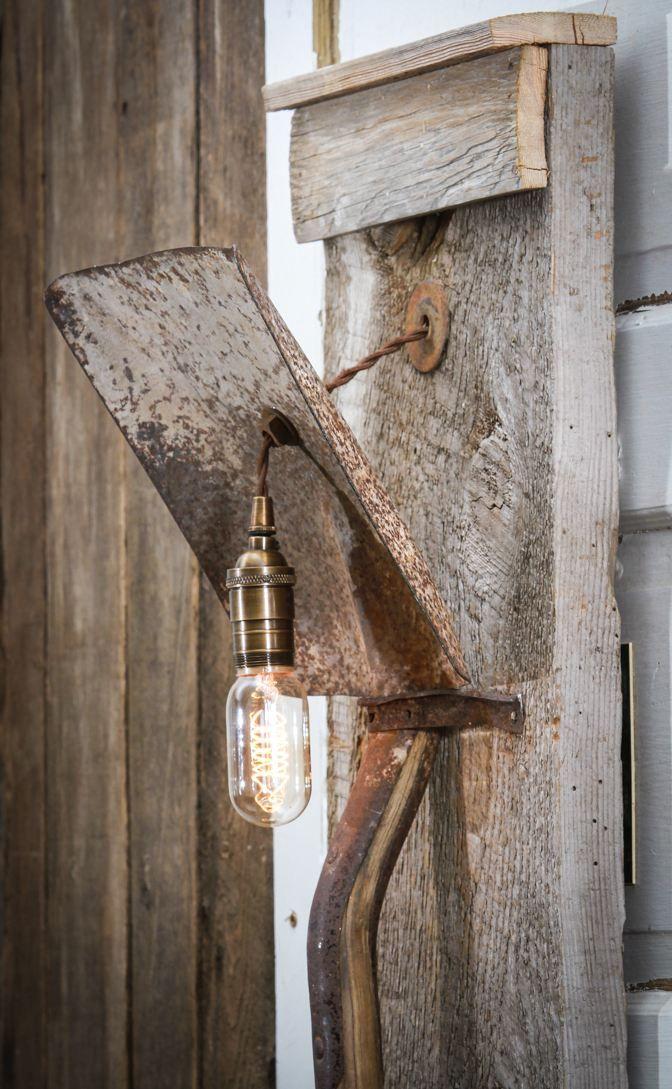 Lamp Made Out Of Old Shovel And Barn Wood Wall Lamp Barn