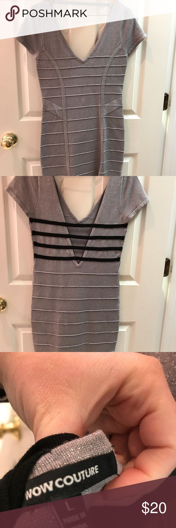 Wow Couture silver bodycon dress Silver and Black bodycon dress. Super cute on! Size large but per the company, large fits sizes 6-8. WOW couture Dresses Mini